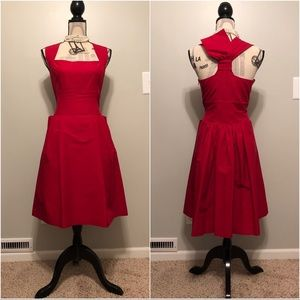 Anthropologie Red Fit and Flare Dress • Size 12